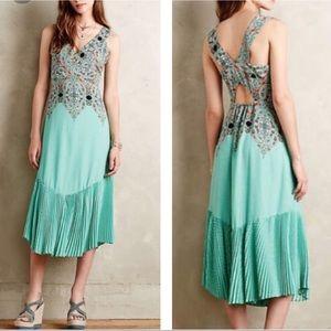 Maeve canyon creek boho chic pleated midi dress